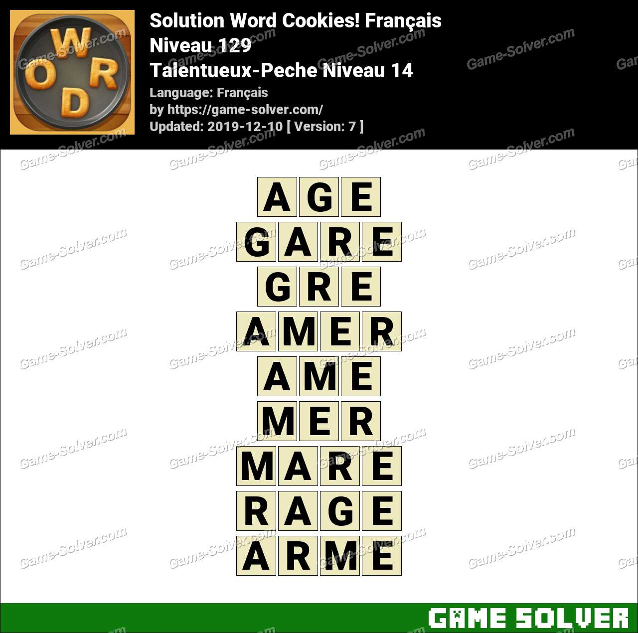 Solution Word Cookies Talentueux-Peche Niveau 14
