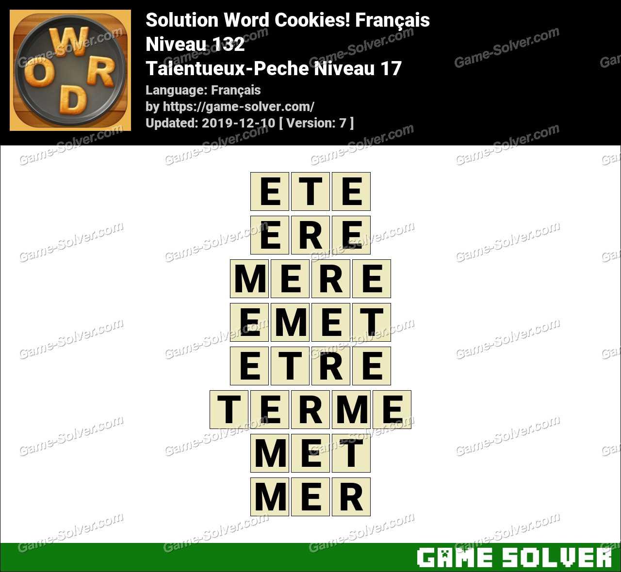 Solution Word Cookies Talentueux-Peche Niveau 17