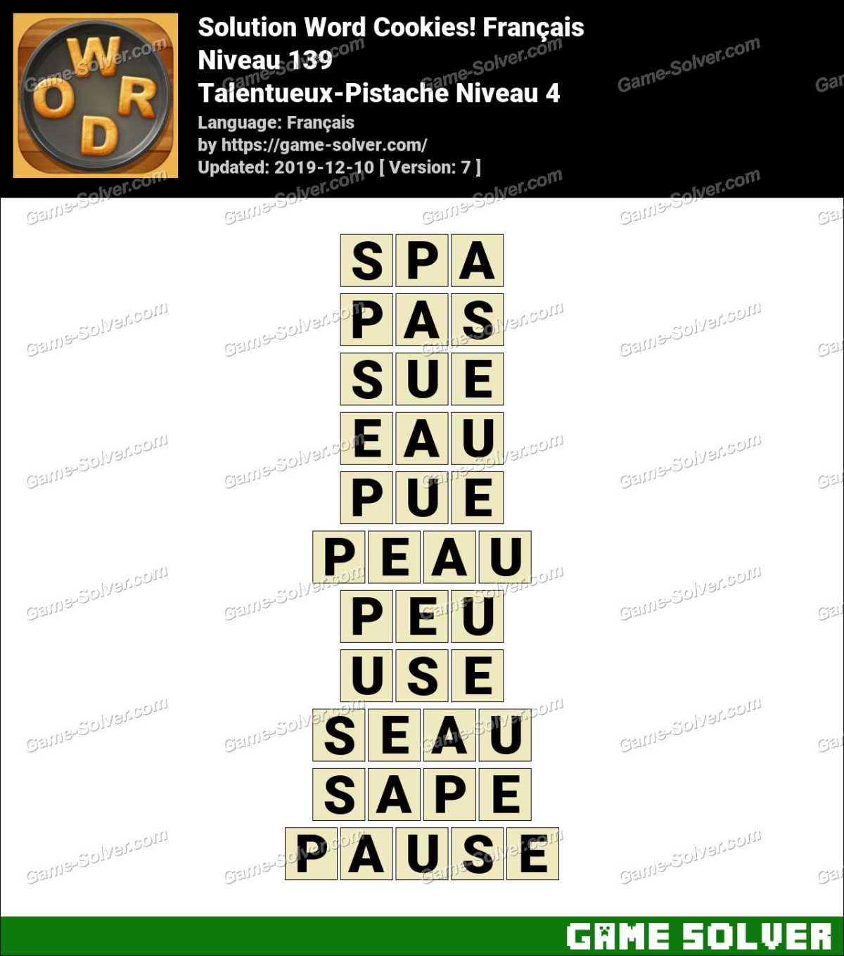 Solution Word Cookies Talentueux-Pistache Niveau 4