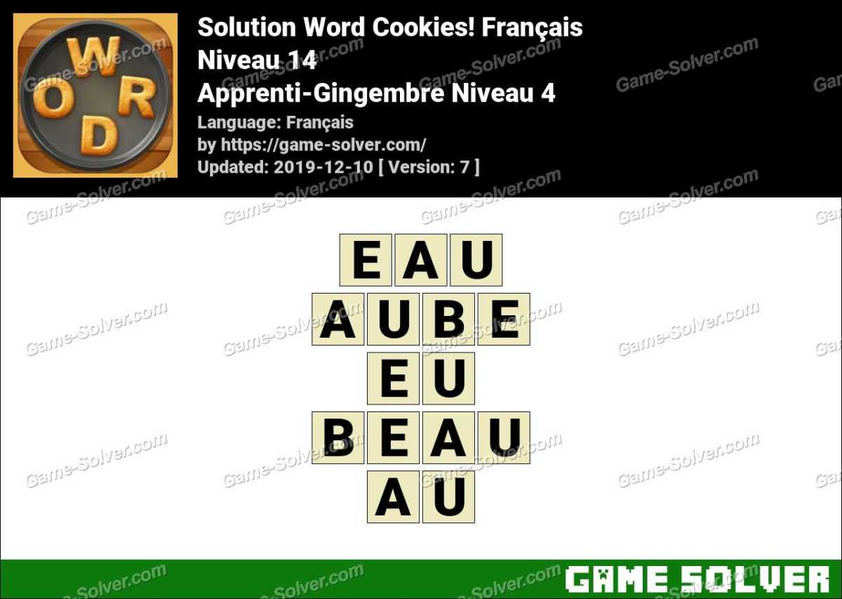 Solution Word Cookies Apprenti-Gingembre Niveau 4