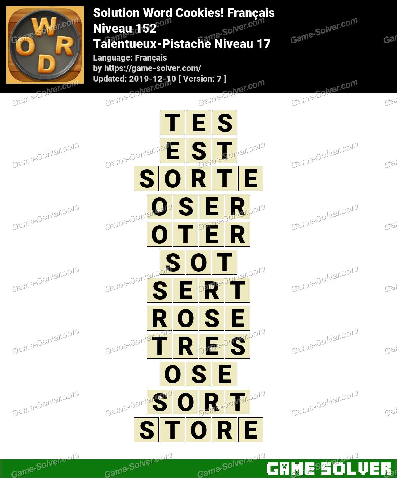 Solution Word Cookies Talentueux-Pistache Niveau 17