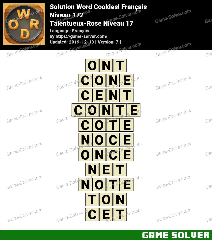 Solution Word Cookies Talentueux-Rose Niveau 17