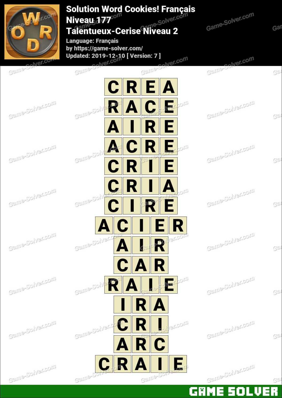 Solution Word Cookies Talentueux-Cerise Niveau 2