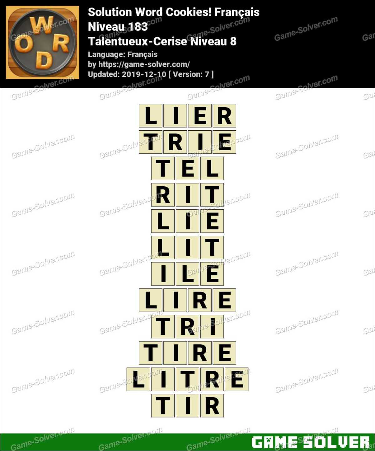Solution Word Cookies Talentueux-Cerise Niveau 8