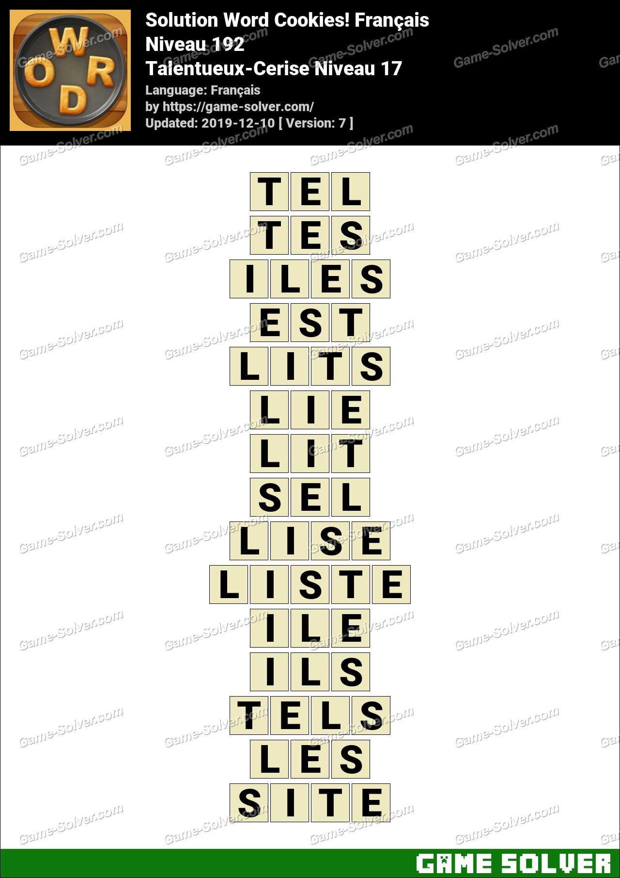 Solution Word Cookies Talentueux-Cerise Niveau 17