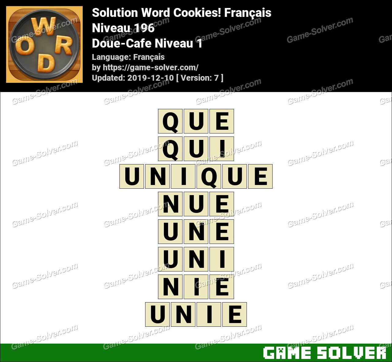 Solution Word Cookies Doue-Cafe Niveau 1