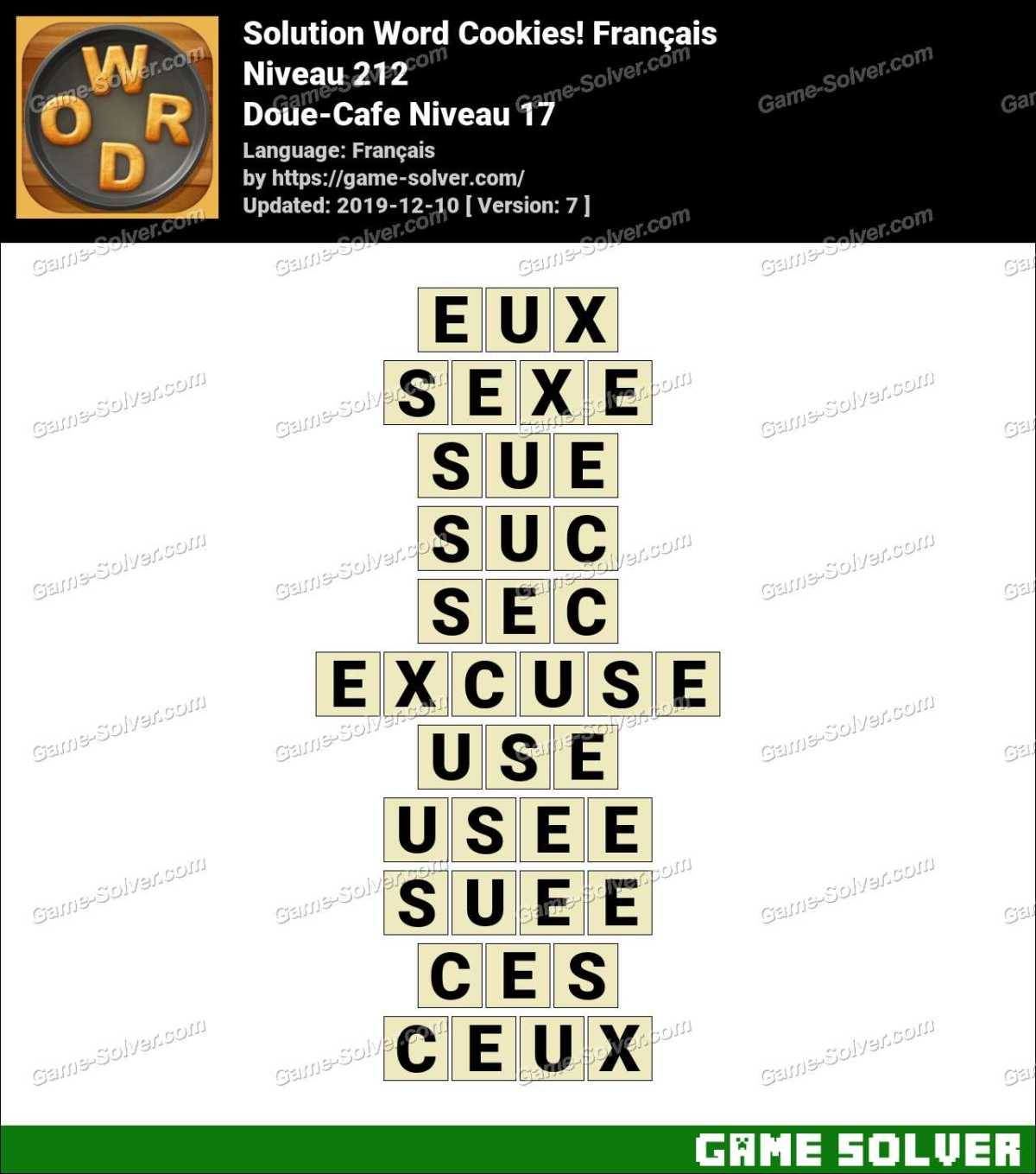 Solution Word Cookies Doue-Cafe Niveau 17