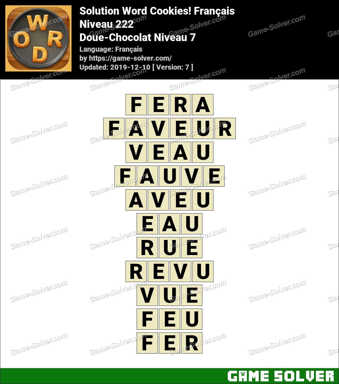 Solution Word Cookies Doue-Chocolat Niveau 7