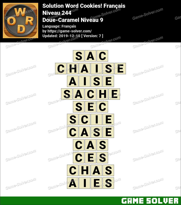 Solution Word Cookies Doue-Caramel Niveau 9