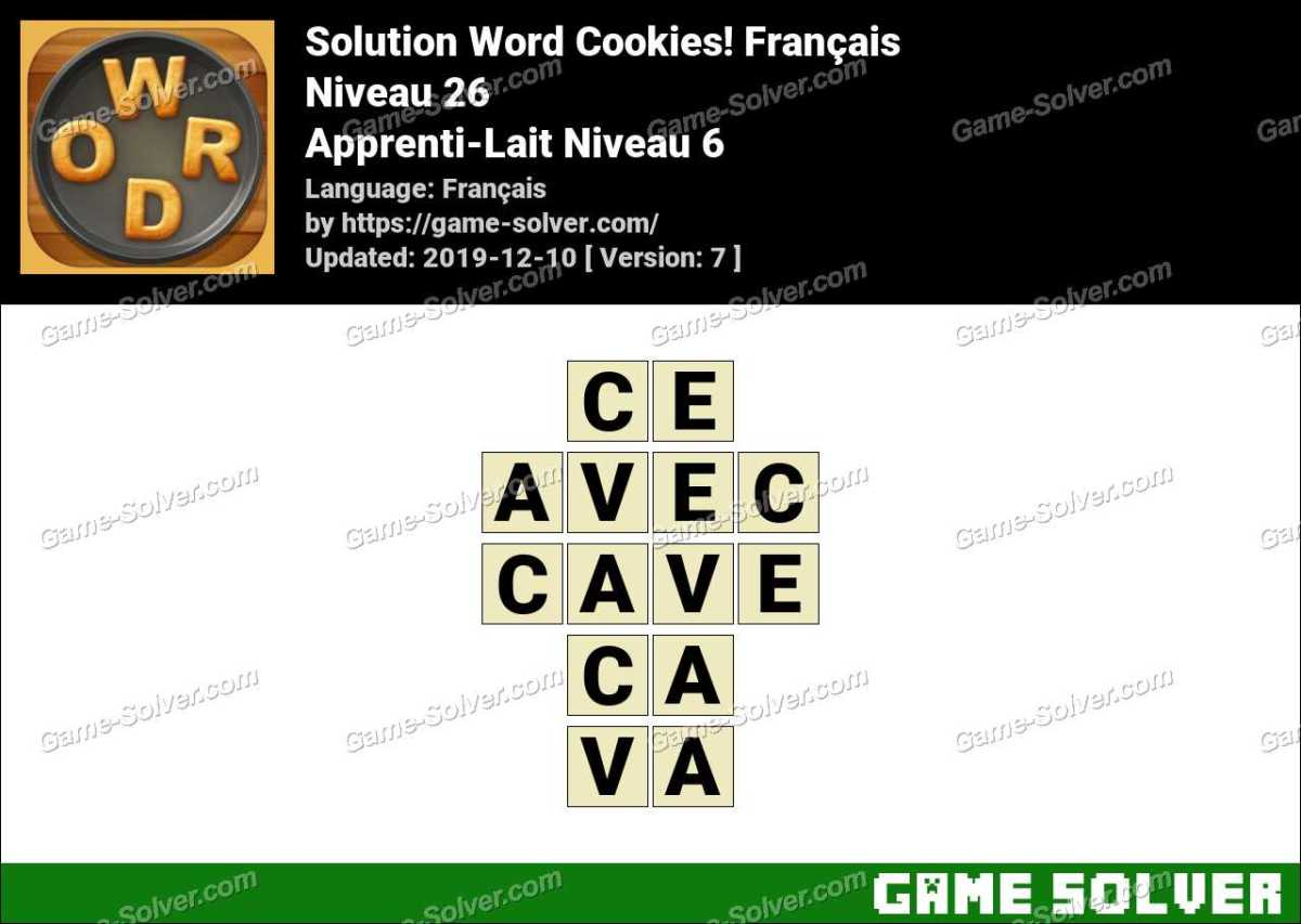 Solution Word Cookies Apprenti-Lait Niveau 6