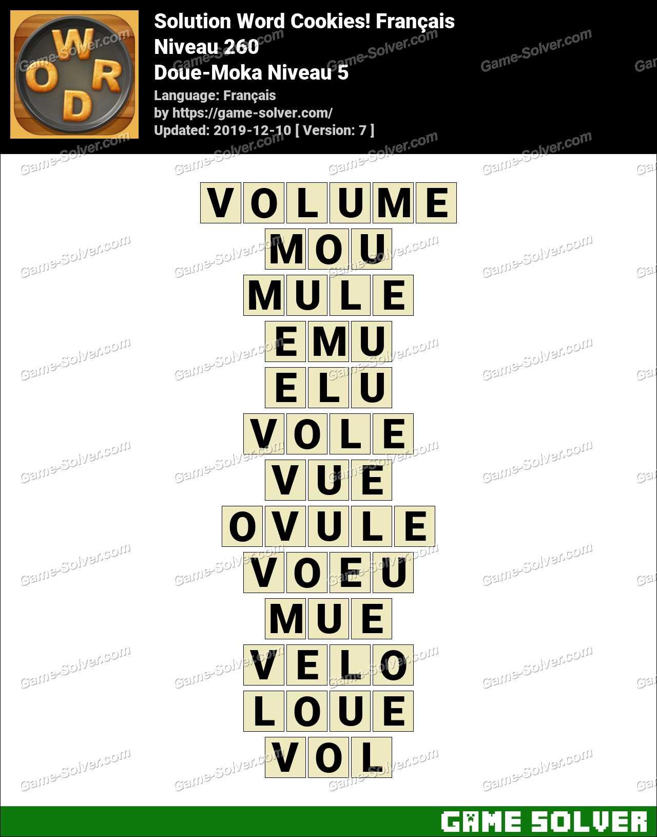 Solution Word Cookies Doue-Moka Niveau 5