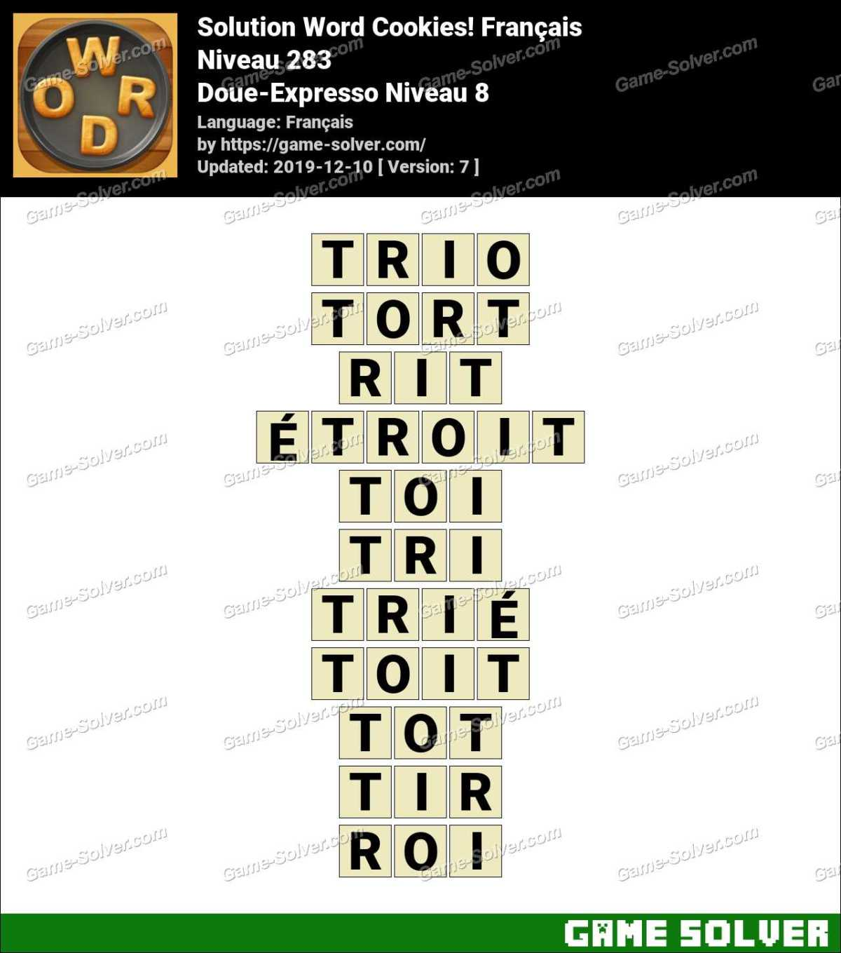 Solution Word Cookies Doue-Expresso Niveau 8