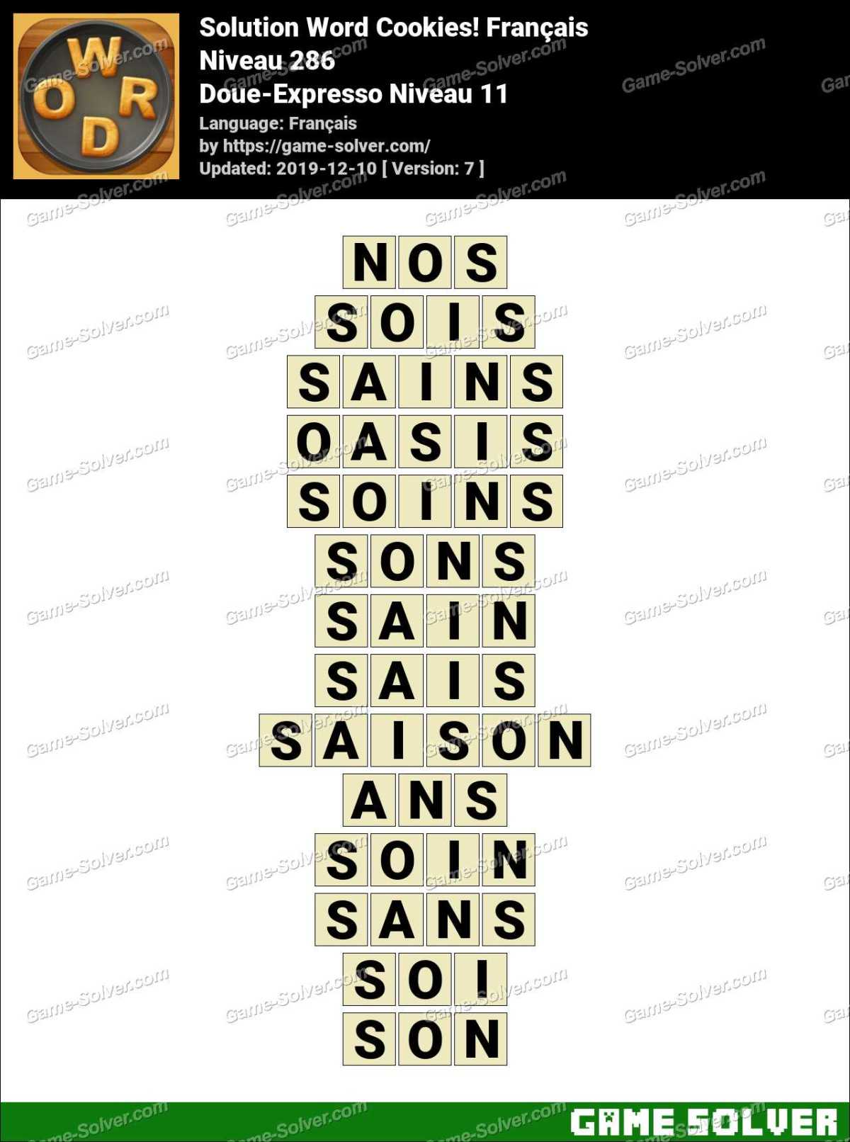Solution Word Cookies Doue-Expresso Niveau 11