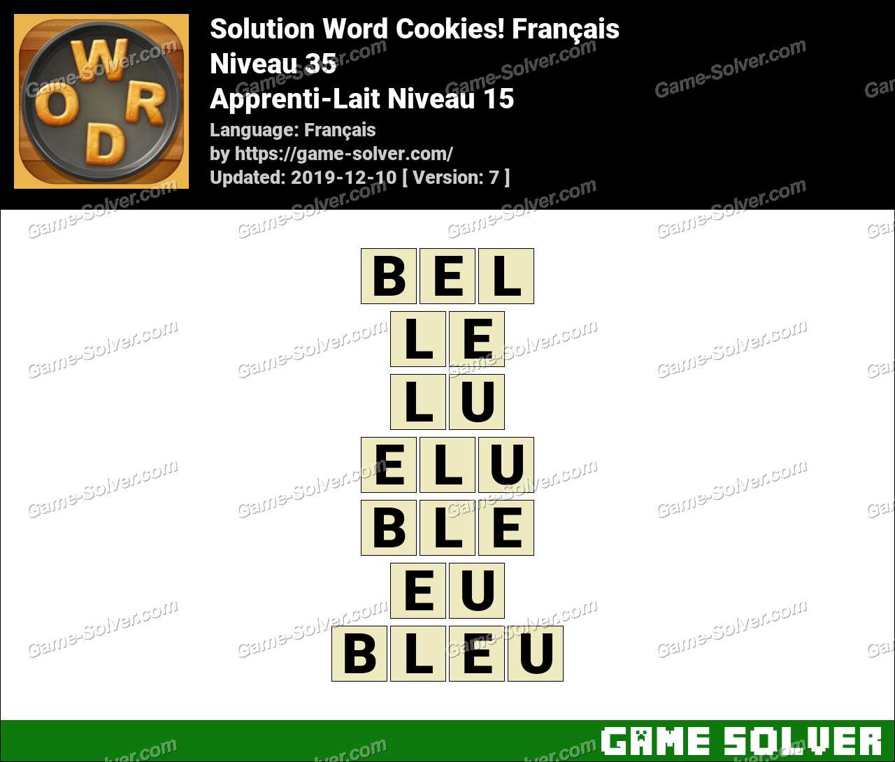 Solution Word Cookies Apprenti-Lait Niveau 15