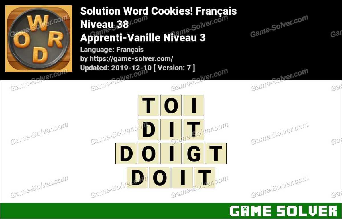 Solution Word Cookies Apprenti-Vanille Niveau 3