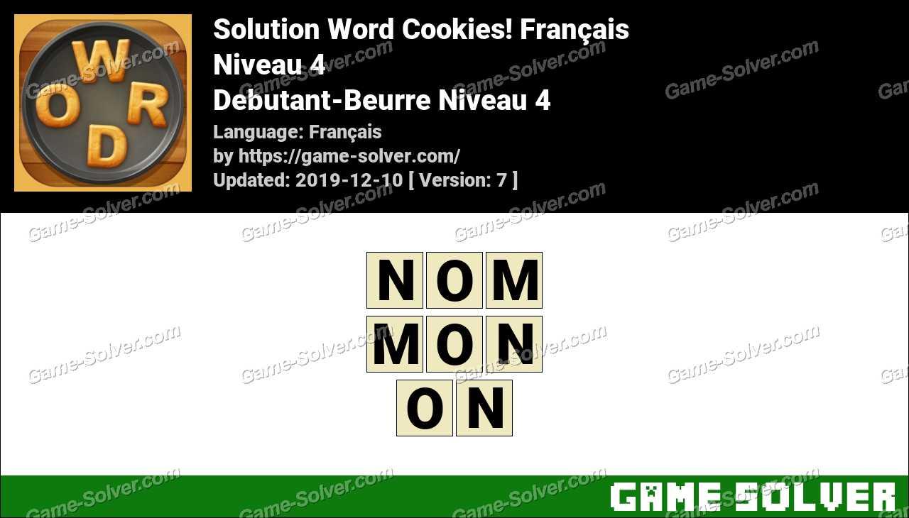 Solution Word Cookies Debutant-Beurre Niveau 4