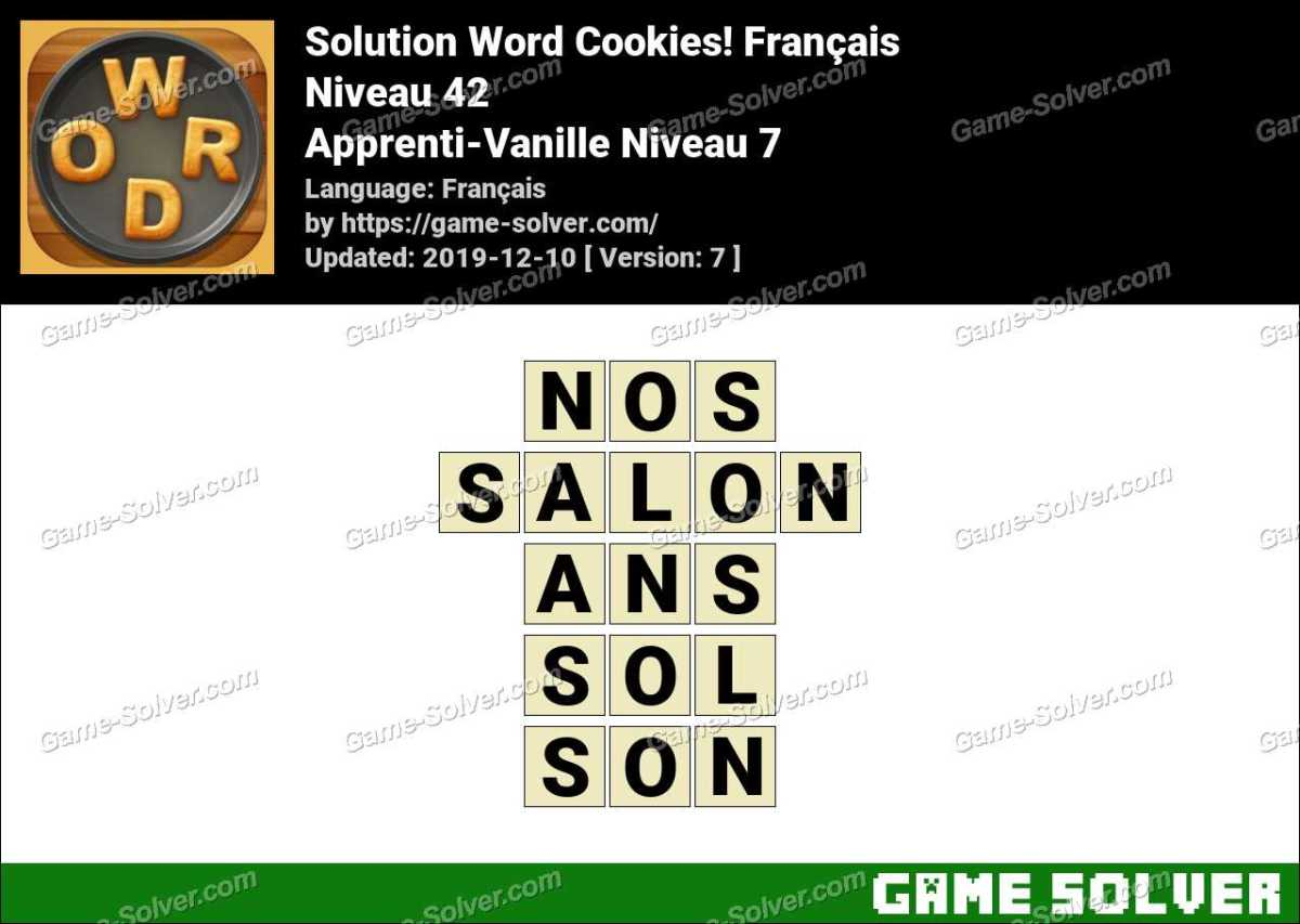 Solution Word Cookies Apprenti-Vanille Niveau 7