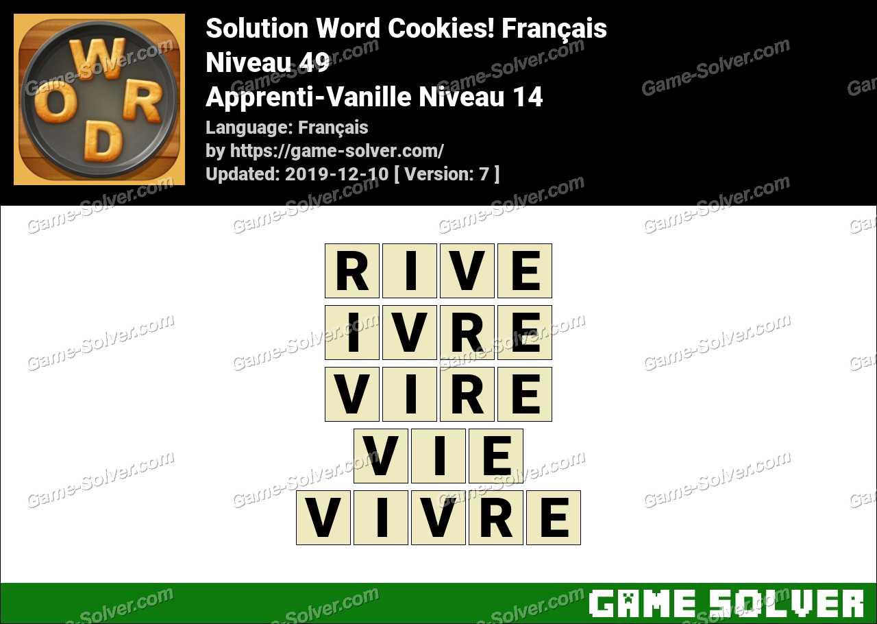 Solution Word Cookies Apprenti-Vanille Niveau 14