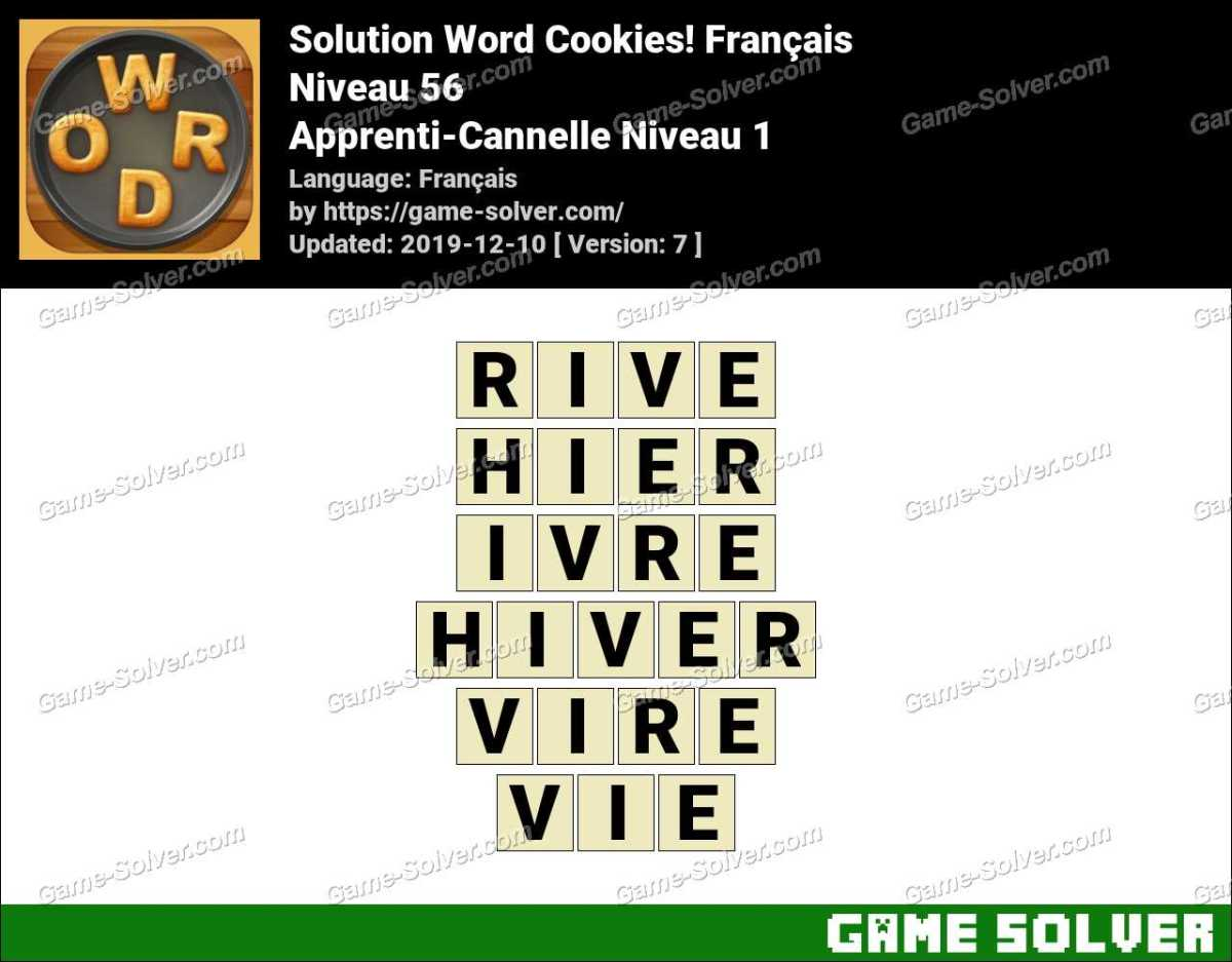 Solution Word Cookies Apprenti-Cannelle Niveau 1