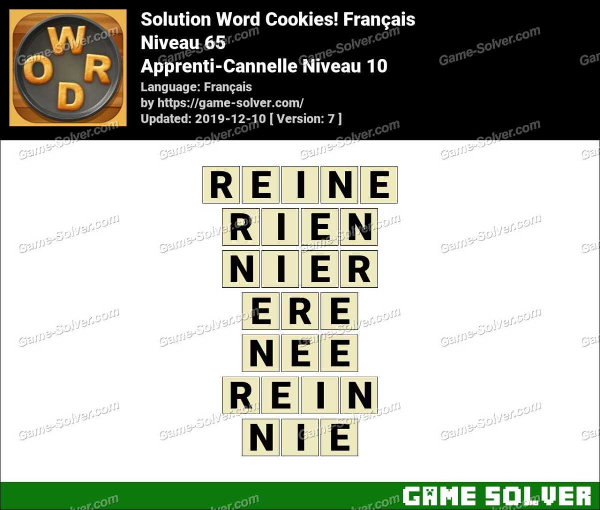 Solution Word Cookies Apprenti-Cannelle Niveau 10