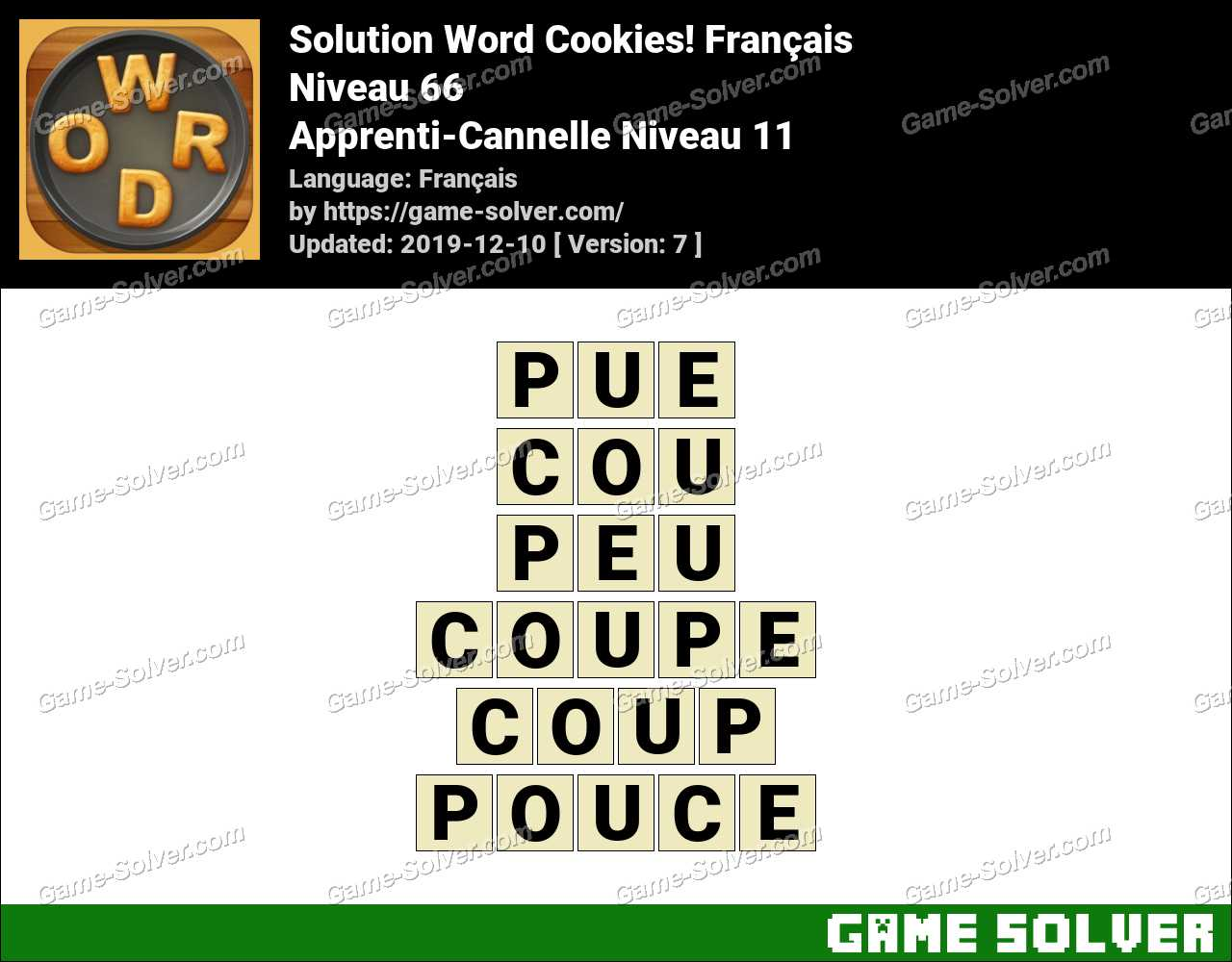 Solution Word Cookies Apprenti-Cannelle Niveau 11