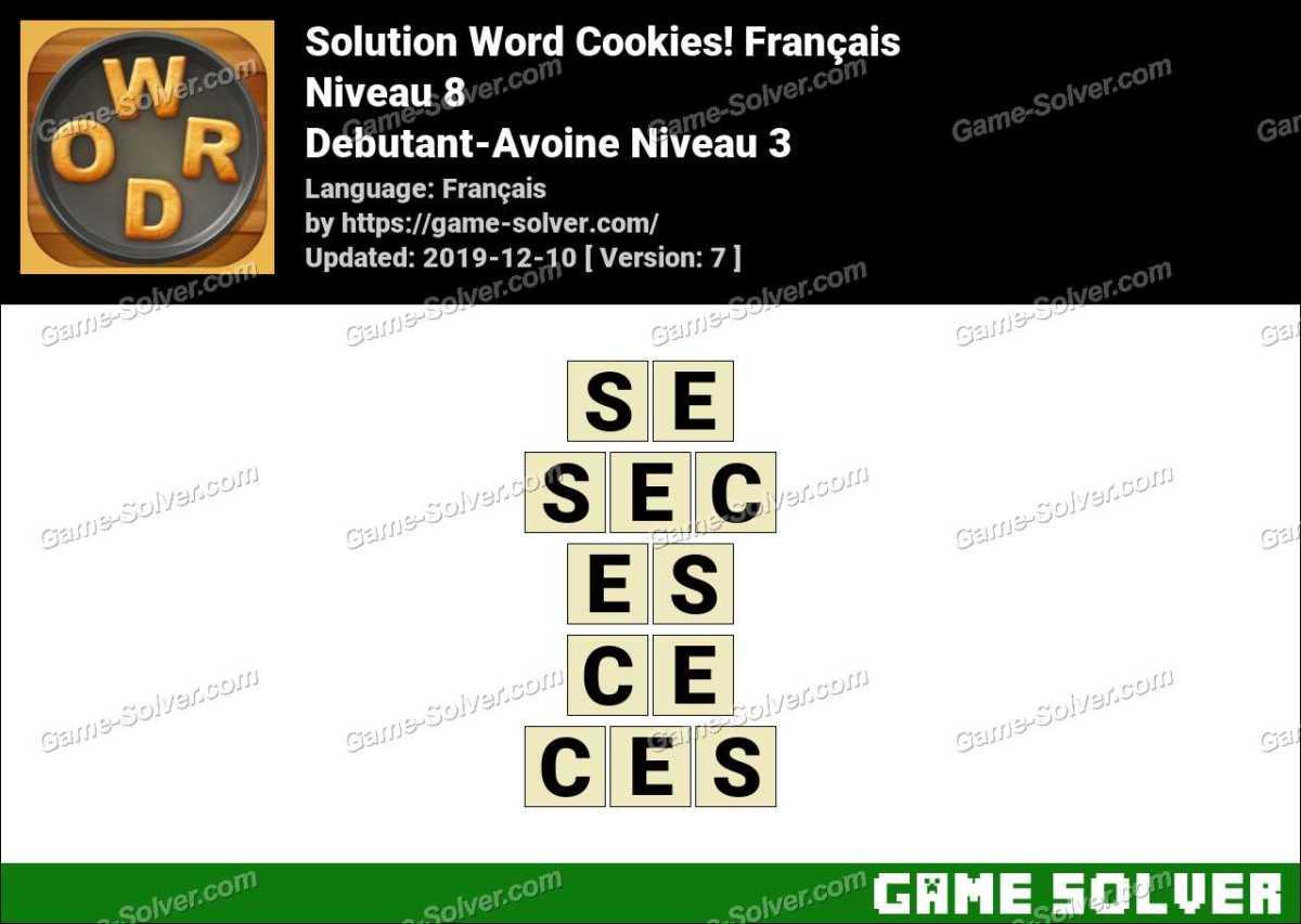 Solution Word Cookies Debutant-Avoine Niveau 3