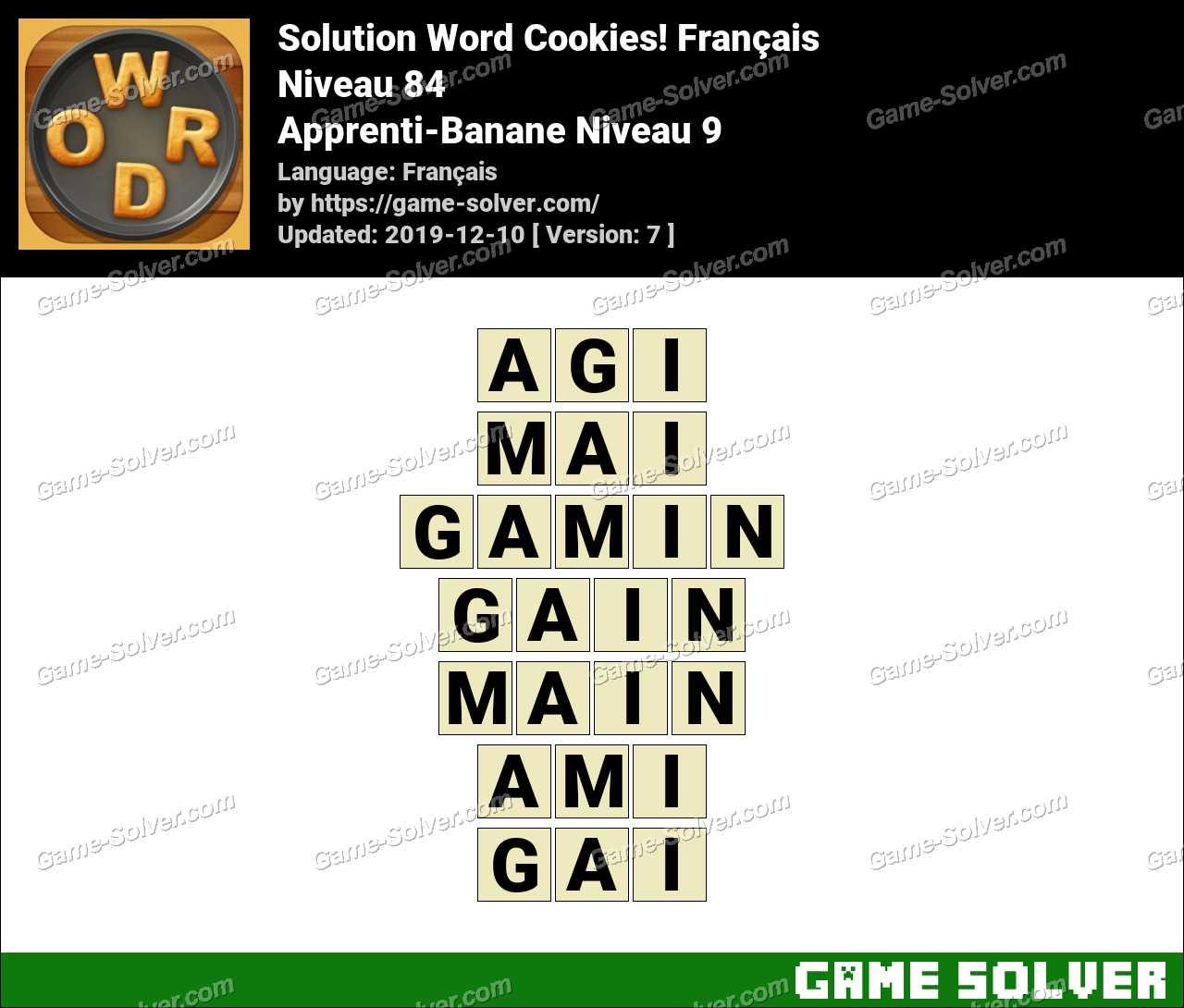 Solution Word Cookies Apprenti-Banane Niveau 9