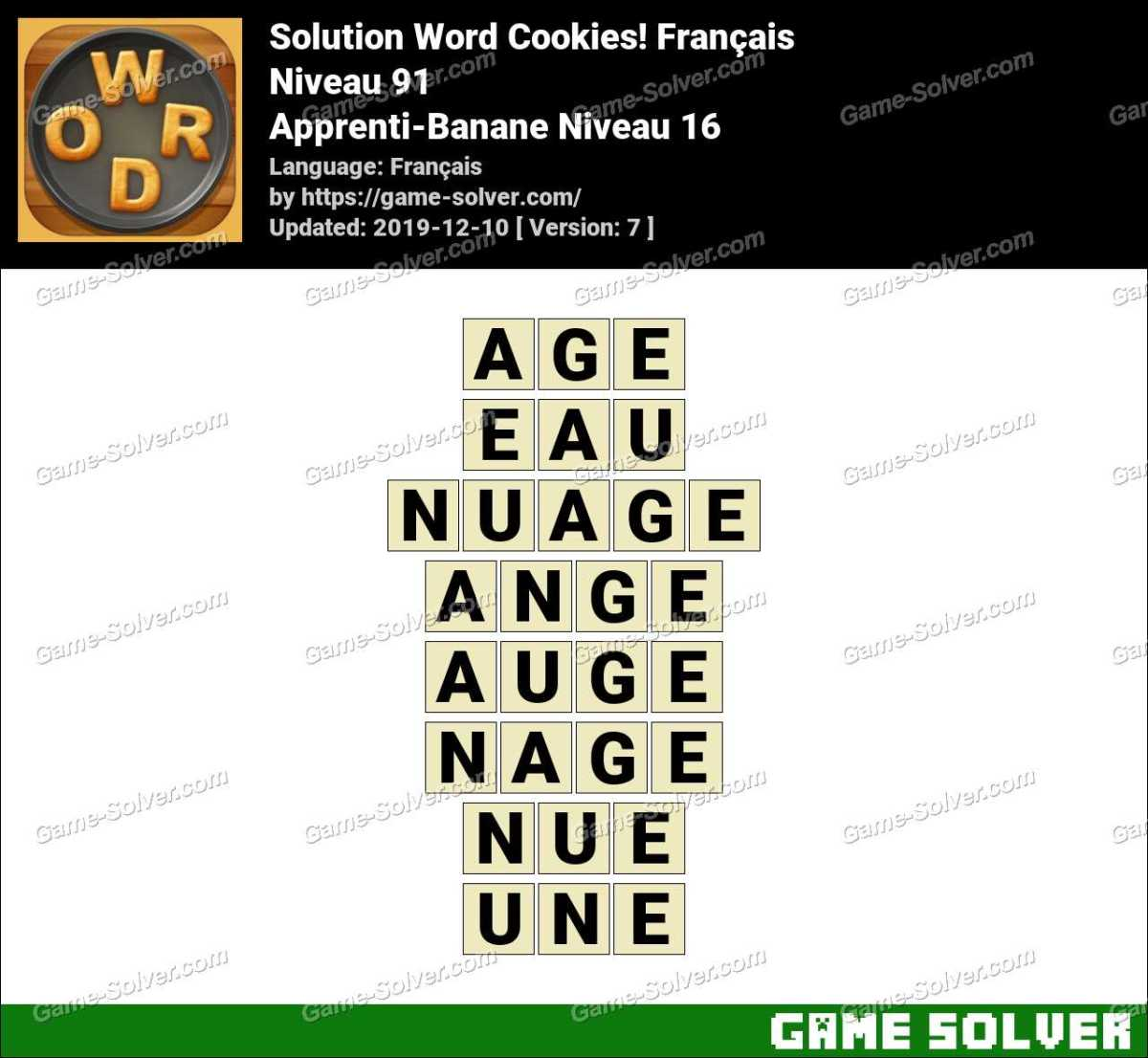 Solution Word Cookies Apprenti-Banane Niveau 16