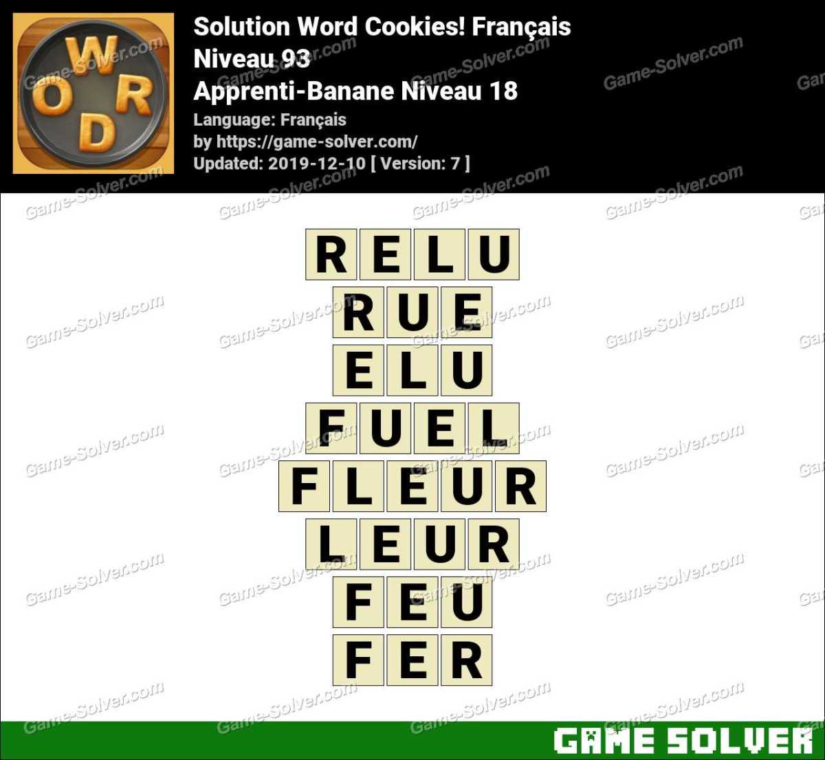 Solution Word Cookies Apprenti-Banane Niveau 18