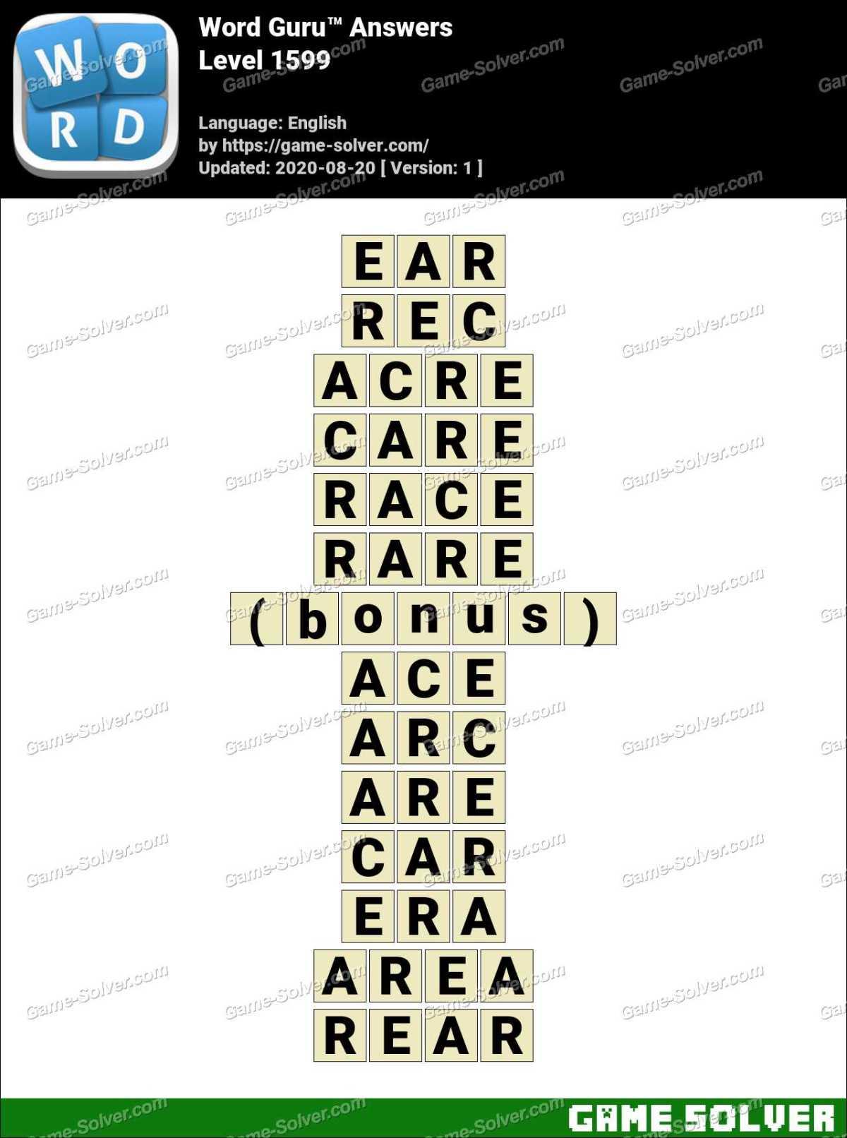 Word Guru Level 1599 Answers