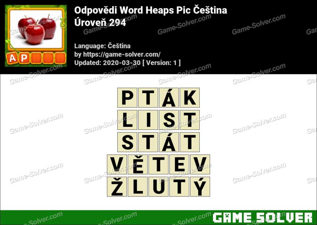Odpovědi Word Heaps Pic Puzzle Úroveň 294