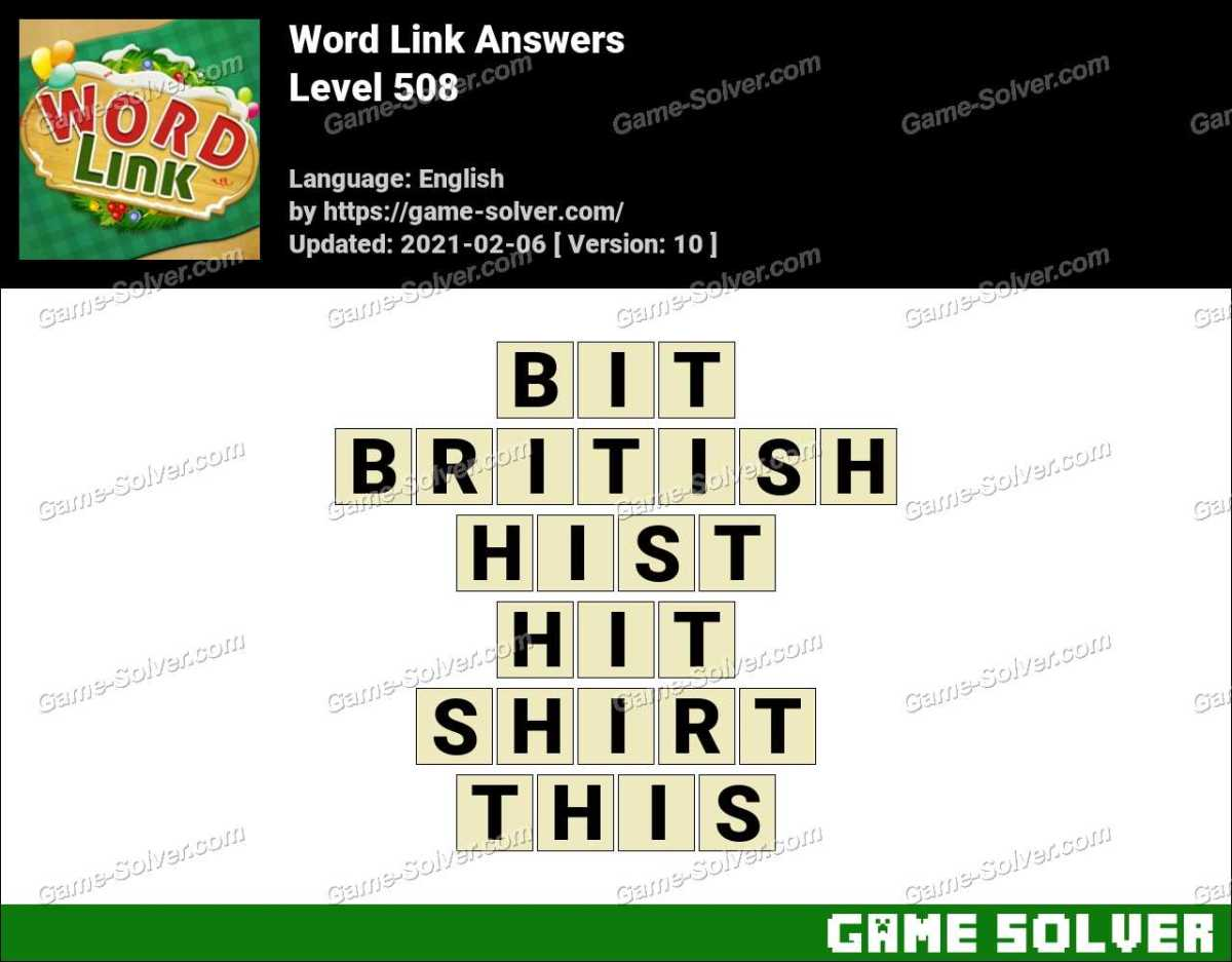 Word Link Level 508 Answers