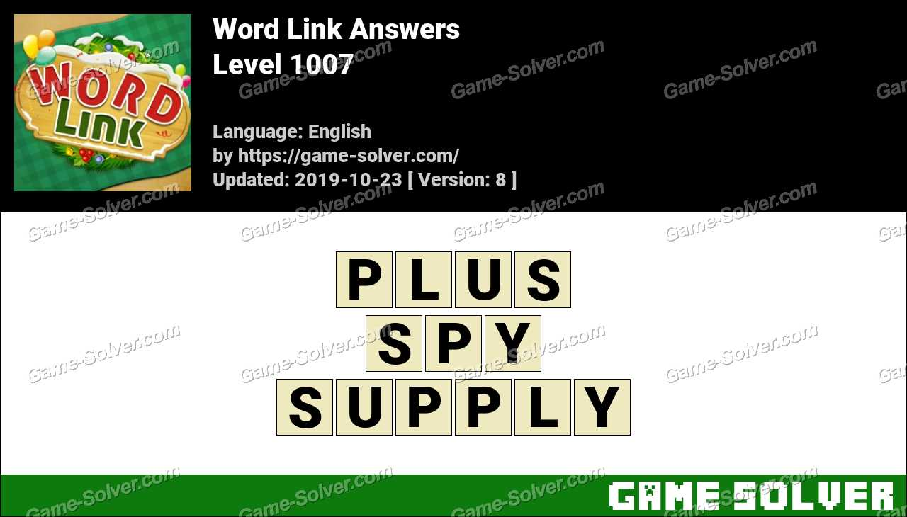 Word Link Level 1007 Answers