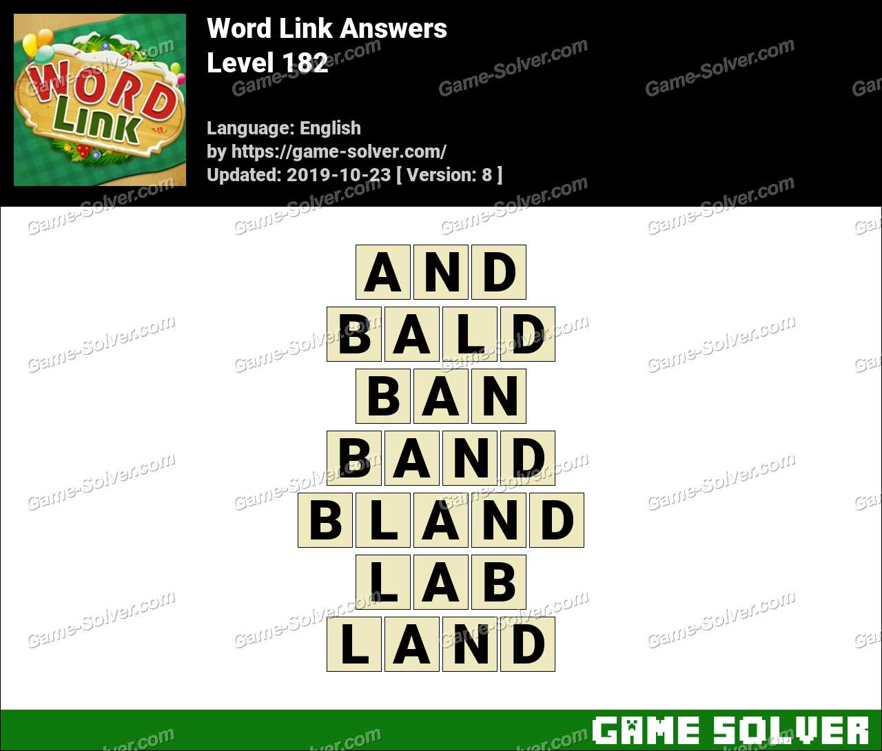 Word Link Level 182 Answers
