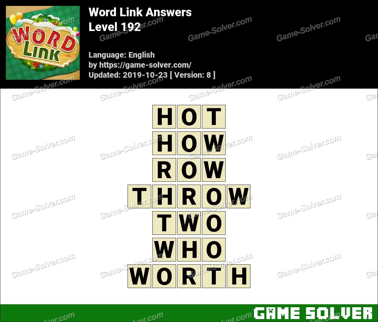 Word Link Level 192 Answers