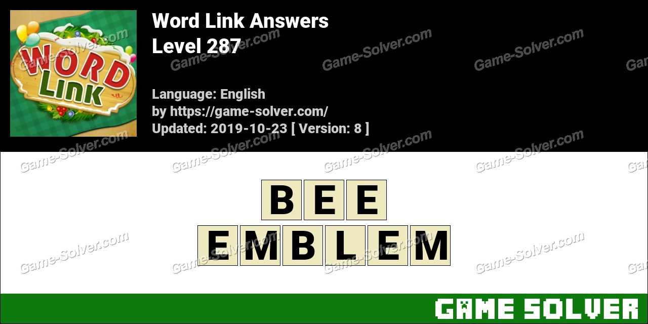 Word Link Level 287 Answers