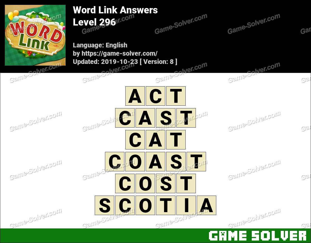 Word Link Level 296 Answers