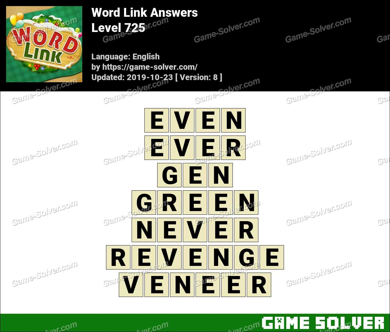 Word Link Level 725 Answers