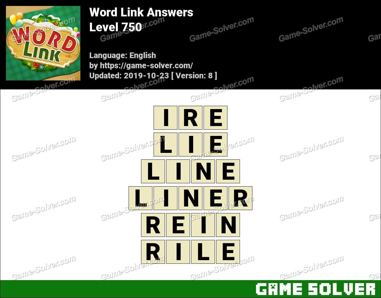 Word Link Level 750 Answers