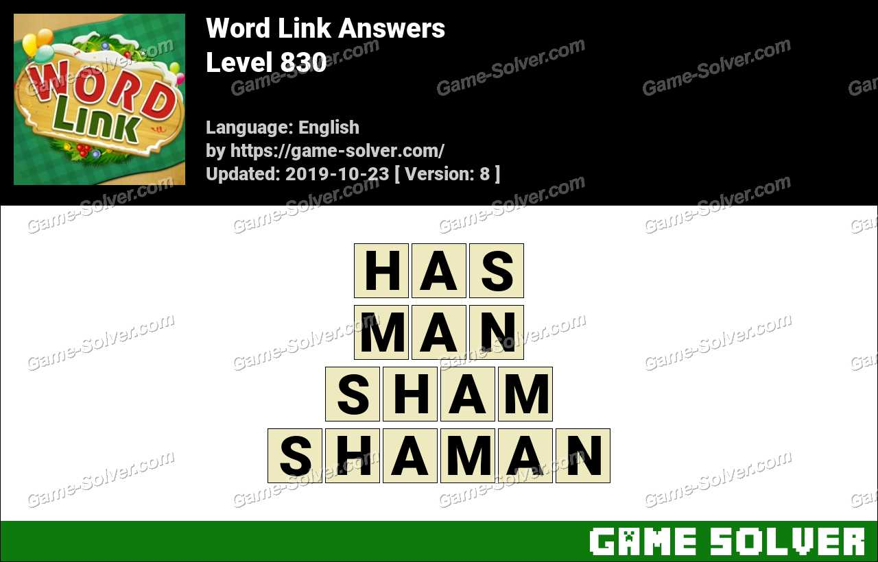Word Link Level 830 Answers