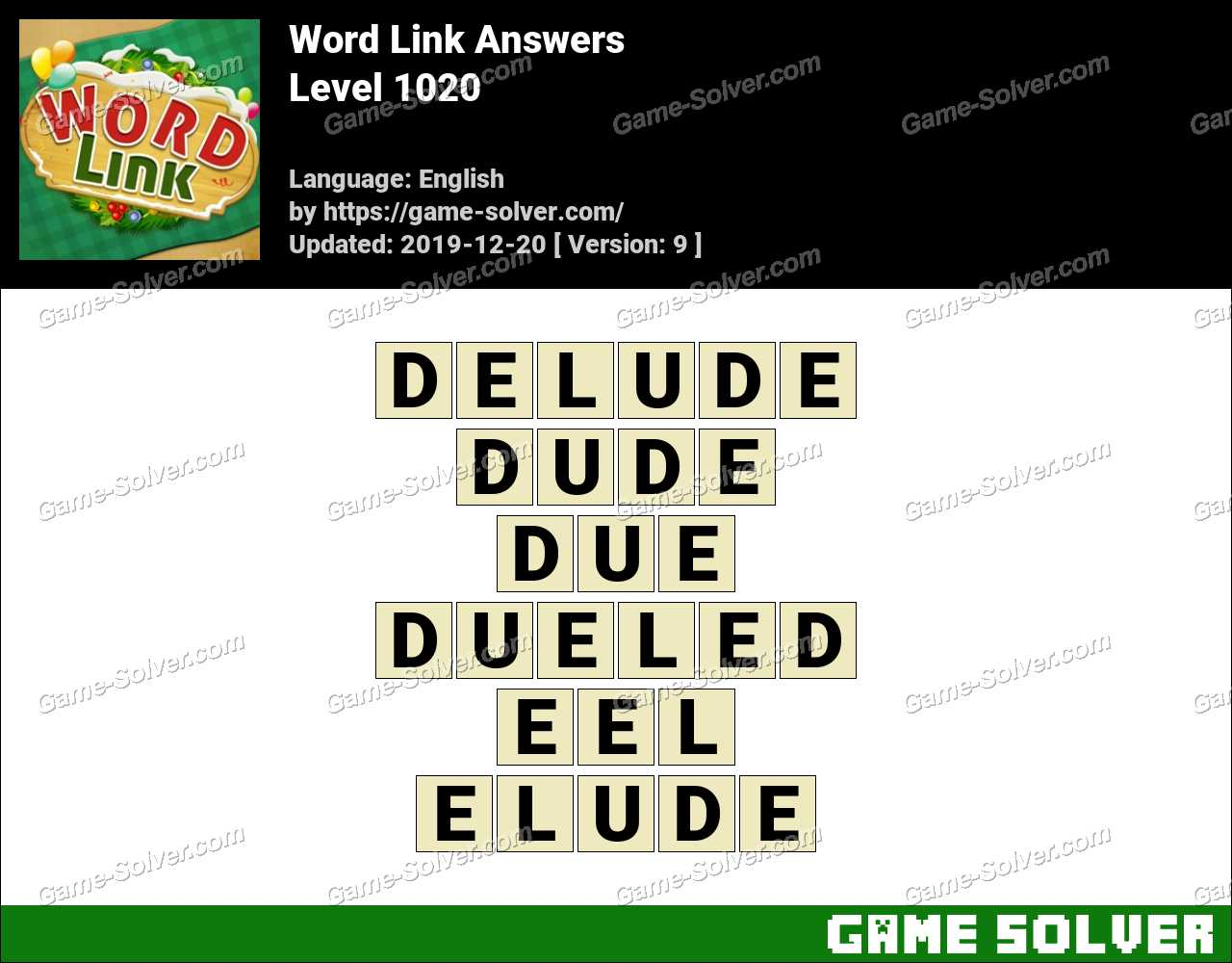 Word Link Level 1020 Answers