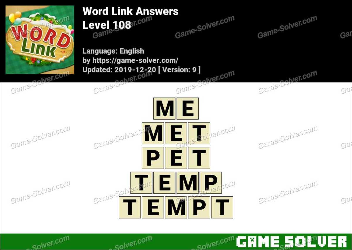 Word Link Level 108 Answers
