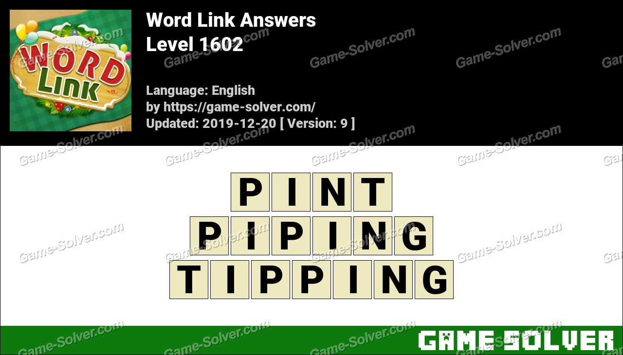 Word Link Level 1602 Answers