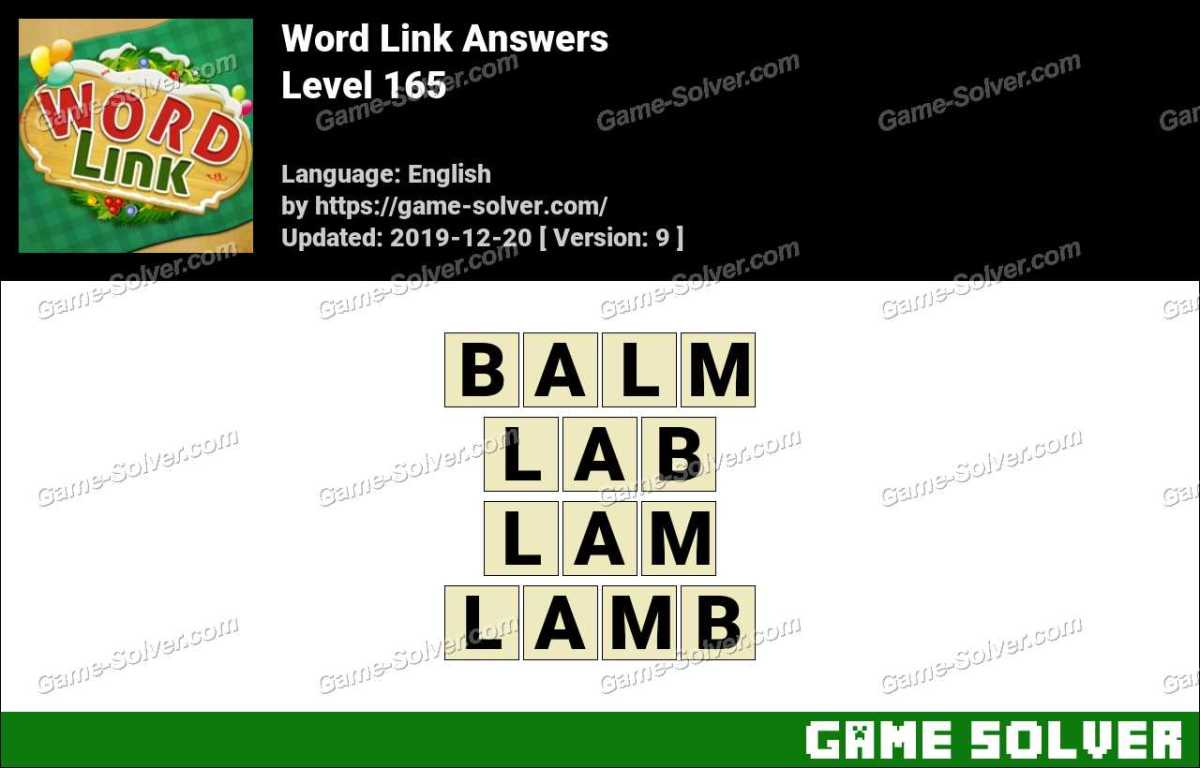Word Link Level 165 Answers