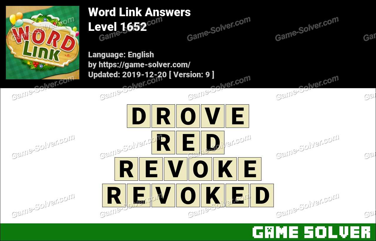 Word Link Level 1652 Answers