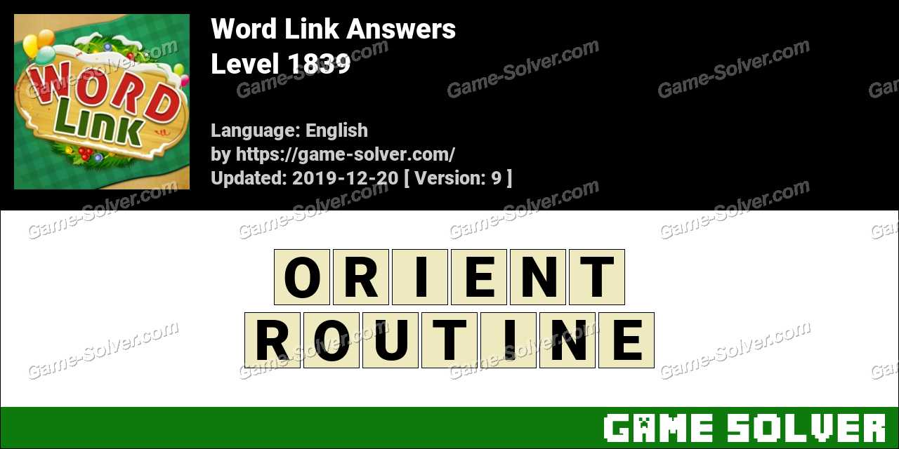 Word Link Level 1839 Answers
