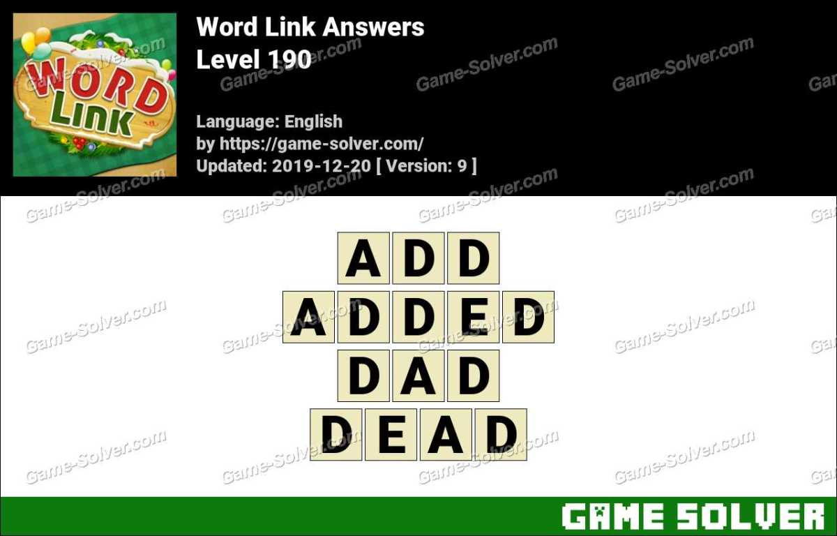 Word Link Level 190 Answers