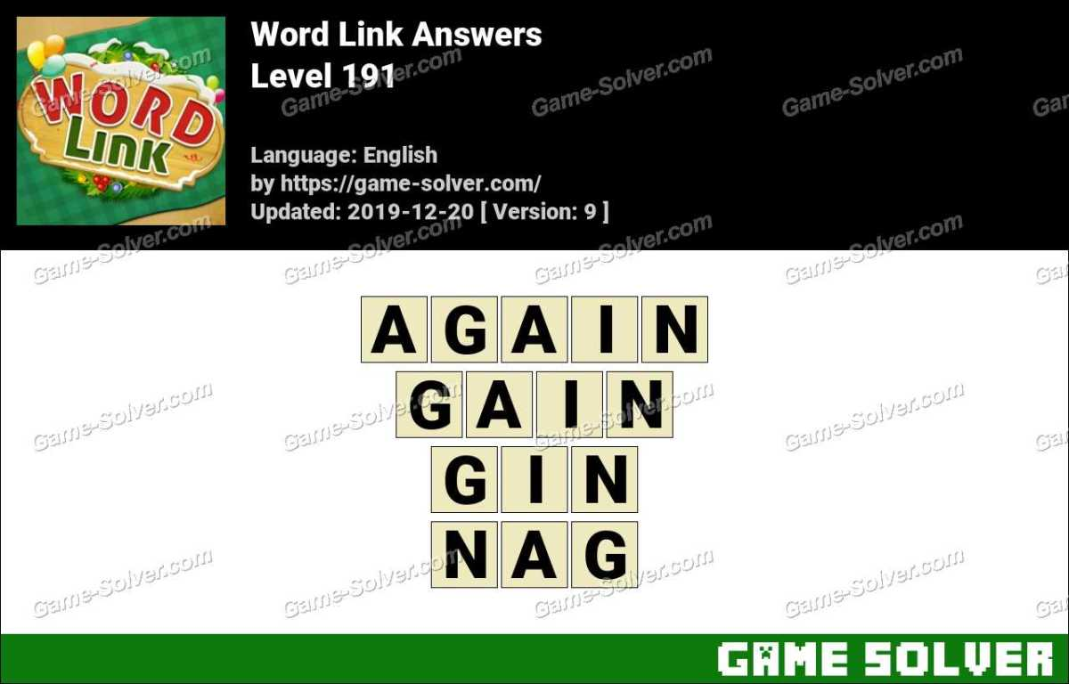 Word Link Level 191 Answers