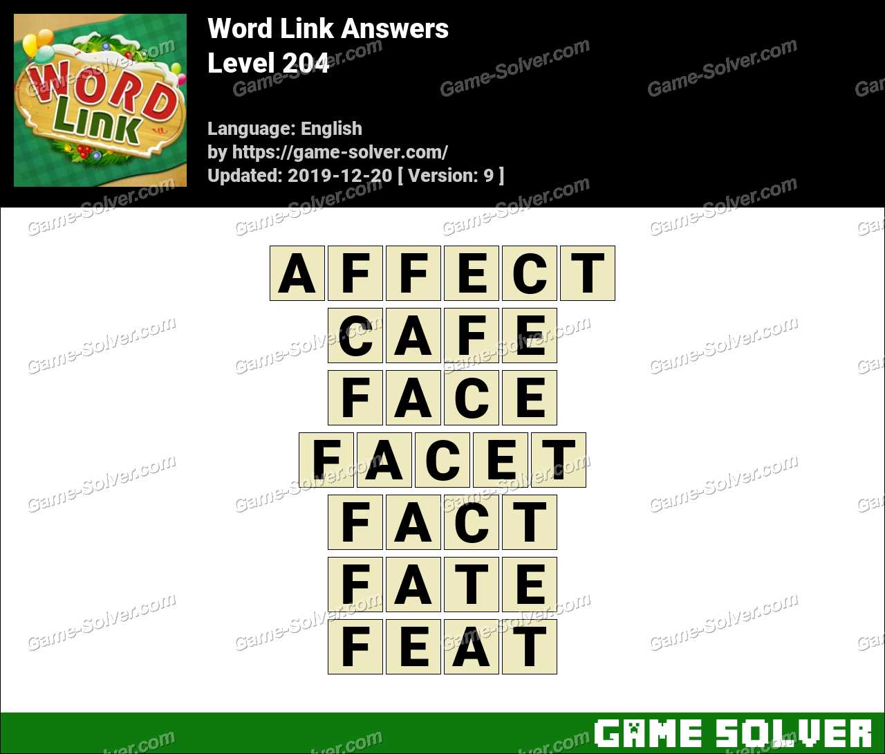 Word Link Level 204 Answers