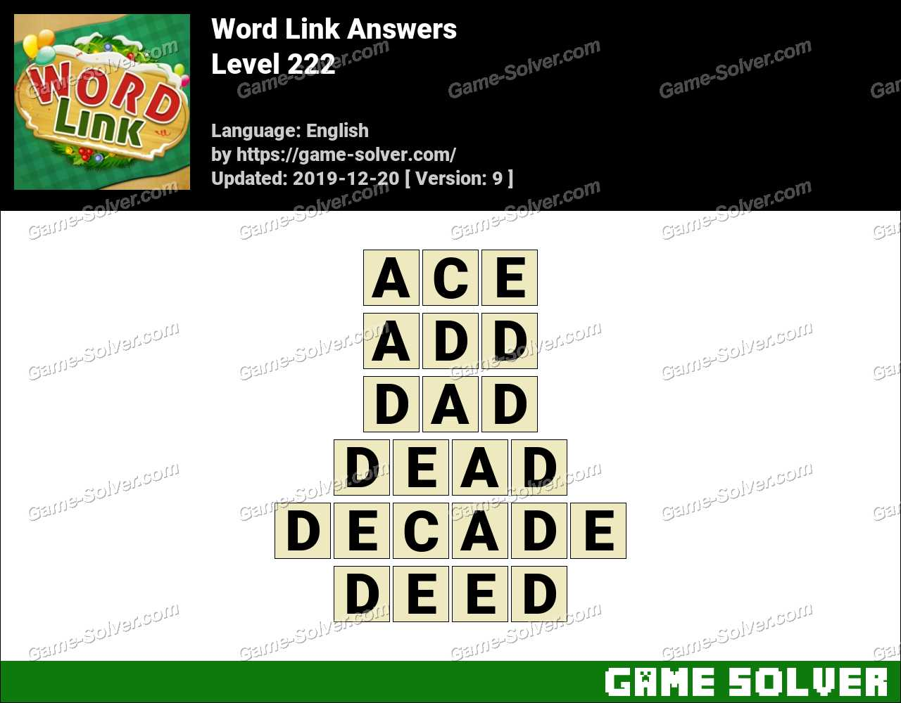 Word Link Level 222 Answers
